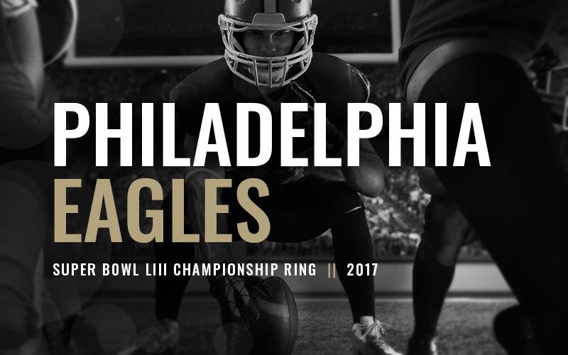 2017 Philadelphia Eagles Super Bowl Football Championship Rings-black and white football player banner Football Rings Baron Rings