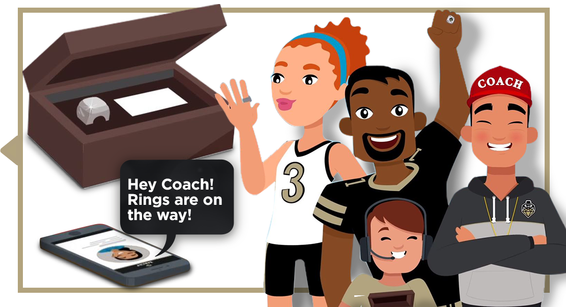 Vector of Ring box, ring, cell phone message to coach & team celebrating with  championship rings: high school, college, university