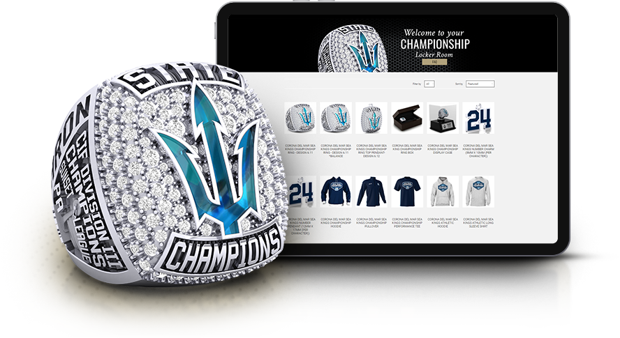 Corona Del Mar championship ring with iPad showing championship collection locker room by Baron. Custom items at best price
