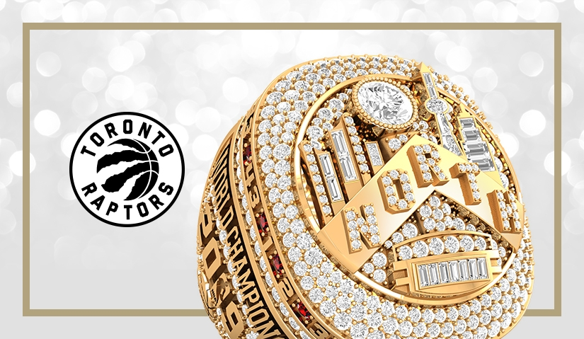 Official Toronto Raptors championship ring with logo. Watch the press release video by Baron/Axle on how the ring was made