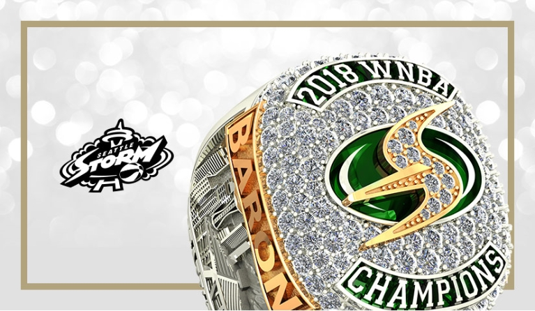 Official Seattle Storm championship ring with logo. Watch the press release video by Baron/Axle on how the ring was made
