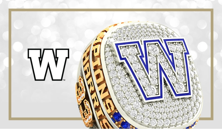Official Winnipeg Blue Bombers championship ring with logo. Watch the press release video by Baron/Axle on how the ring was made