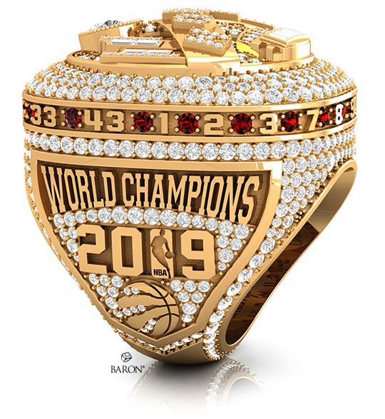 2019 Toronto Raptors NBA Championship Ring-Left Side showing World Champions, NBA logo in 1 of 2019, Toronto Raptors logo, encrusted diamonds side