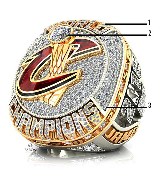 2016 Cleveland Cavaliers NBA Championship Ring-front side of World Champions, The Larry O'Brien trophy and cascading diamonds