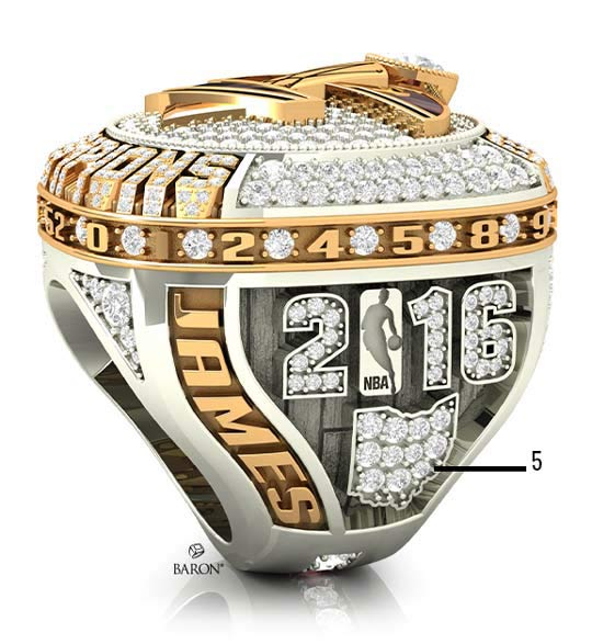 2016 Cleveland Cavaliers NBA Championship Ring-right side-ohio state  with 11 diamonds-the number of years Dan Gilbert's ownership