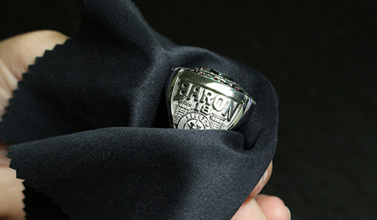 Jewellery care is an important part of keeping your jewellery's long-lasting brilliance. Baron's ring wrapped in soft cloth