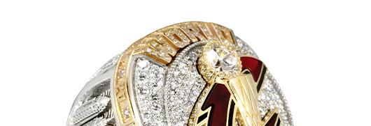 2019 Toronto Raptors NBA Championship Ring-Front Side with Toronto Skyline, Scotiabank Arena, North Chevron basketball jersey logo, The Six of 6 diamonds