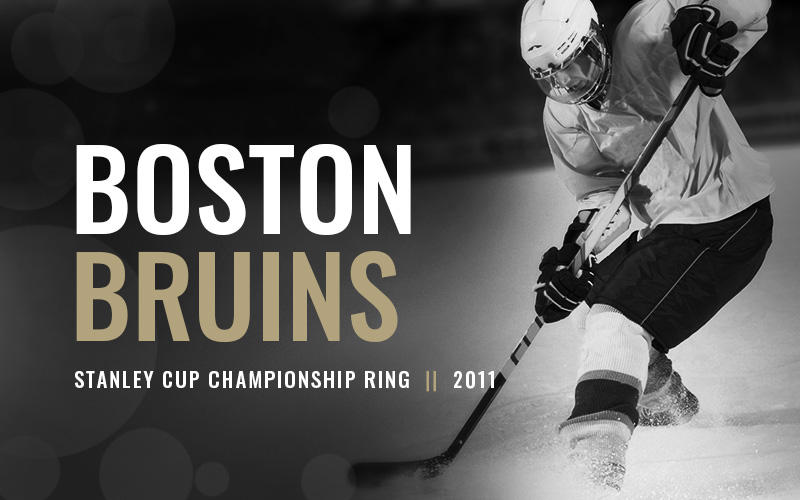 2011 Boston Bruins Stanley Cup Championship Ring, black and white hockey players banner. Baron Hockey Championship Rings