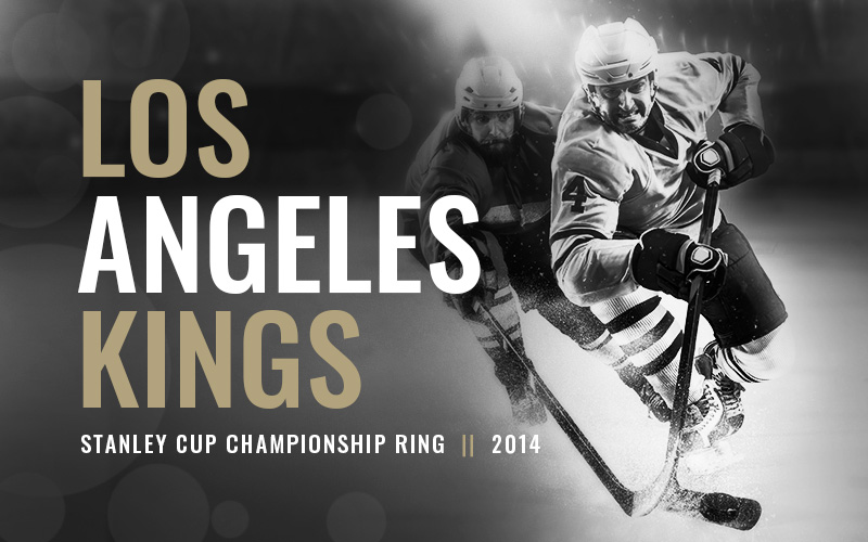 2014 Los Angeles Kings Stanley Cup Championship Ring, black and white hockey players banner. Baron Hockey Championship Rings