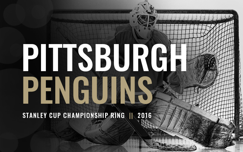 2016 Pittsburgh Penguins Stanley Cup Championship Ring, black and white hockey goalie banner. Baron Hockey Championship Rings