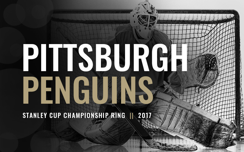 2017 Pittsburgh Penguins Stanley Cup Championship Ring, black and white hockey goalie banner. Baron Hockey Championship Rings