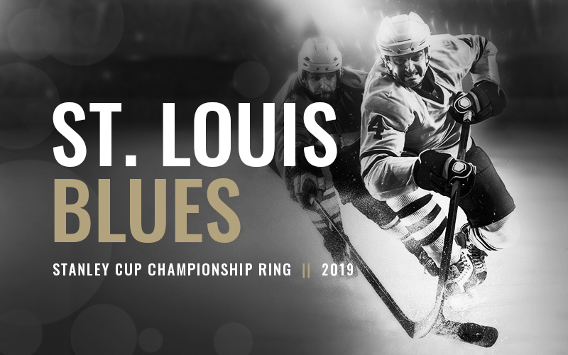 2019 St. Louis Blues Stanley Cup Championship Ring, black and white hockey players banner. Baron Hockey Championship Rings
