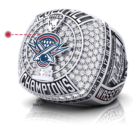 Baron Championship Rings Blog-2018 Seattle Storm WNBA Championship Ring-Front Side, Emerald stones, Diamonds, Seattle Storm logo, Basketball Rings