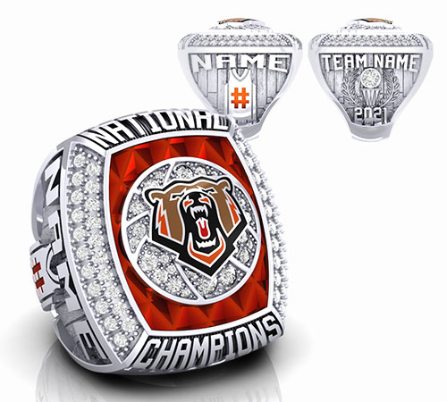 durilium basketball championship ring with brown grizzlies bear logo with basketball ball trophy, basketball court by Baron Rings