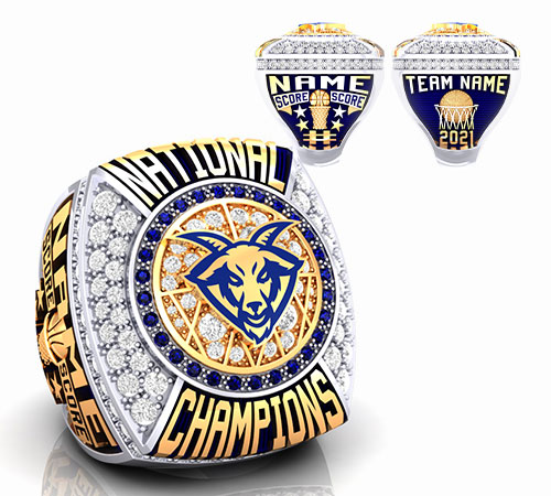 gold durilium basketball championship ring with blue rams logo with basketball ball and net, player, basketball net by Baron Rings
