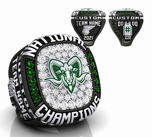 obsidian durilium basketball championship ring with green rams logo with basketball ball and net, player jersey, basketball net by Baron Rings