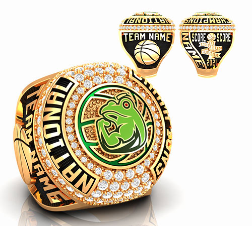 gold  basketball championship ring with green frog and green glass basketball logo with basketball ball trophy, basketball net by Baron Rings