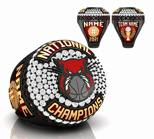 obsidian gold  basketball championship ring with red panther and grey basketball logo with basketball ball trophy, basketball net by Baron Rings