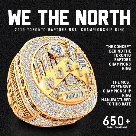 2019 Toronto Raptors NBA Championship Ring-Engraving showing official Champions logo, playoff series record, genuine ruby inside maple leaf for Canada