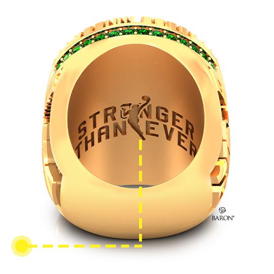 Baron Championship Rings Blog-2020 Seattle Storm WNBA Championship Ring-Left Side, Emerald stones, Diamonds, Seattle Storm logo, Basketball Rings