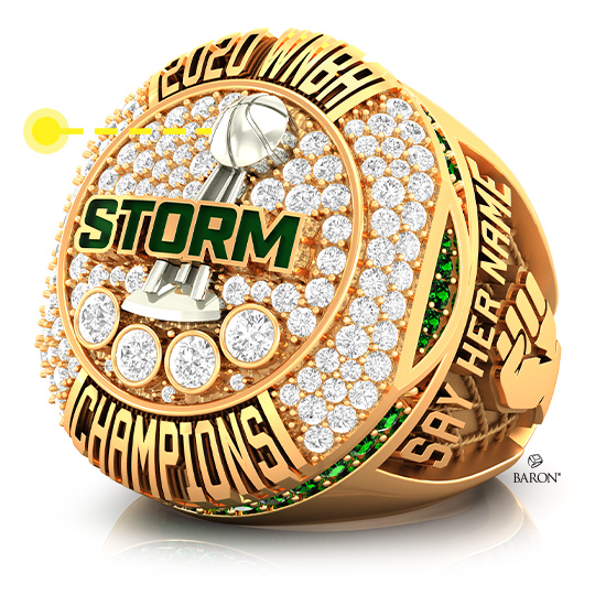Baron Championship Rings Blog-2020 Seattle Storm WNBA Championship Ring-Front Side, Emerald stones, Diamonds, Seattle Storm logo, Basketball Rings