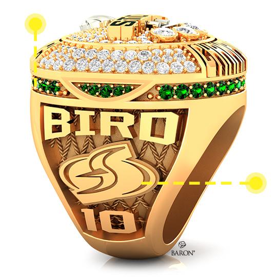 Baron Championship Rings Blog-2020 Seattle Storm WNBA Championship Ring-Right Side, Emerald stones, Diamonds, Seattle Storm logo, Basketball Rings