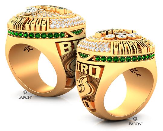 Baron Championship Rings Blog-2020 Seattle Storm WNBA Championship Ring-Sides, Emerald stones, Diamonds, Seattle Storm logo, Basketball Rings