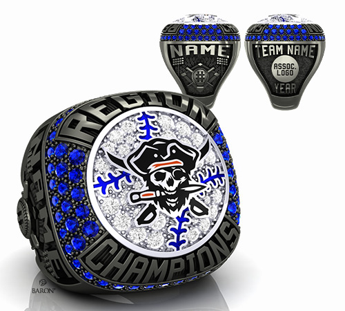 obsidian and durilium basketball championship ring with black and red pirate and knife logo with basketball ball, net texture, basketball court by Baron Rings