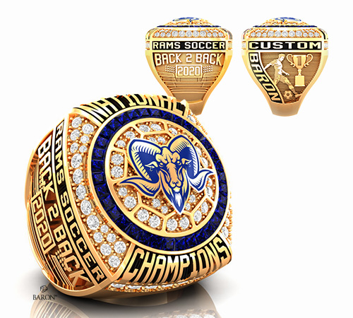 durilium soccer championship ring with brown grizzlies bear logo with basketball ball trophy, soccer court by Baron Rings